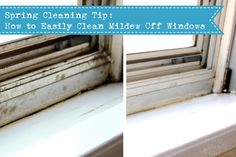 The temperature difference between the outside and inside your home can leave a thick layer of mildew on your windows. Easily clean mildew off your windows. Metal Window Frames, Metal Windows, House Windows, Cleaning Mold, Diy Cleaning Products, Cleaning Hacks, Organizing Tips, Organising, Organization Ideas
