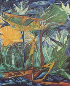 Green and Blue Forest - Natalia Goncharova Futurism Art, Abstract Art Images, Avant Garde Artists, Art Database, Art Moderne, Russian Art, Vincent Van Gogh, Art World, Art Boards