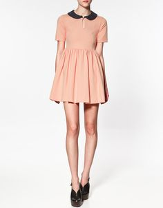 CONTRASTING COLLAR DRESS - Dresses - Woman - ZARA  Also super cute in this colour.