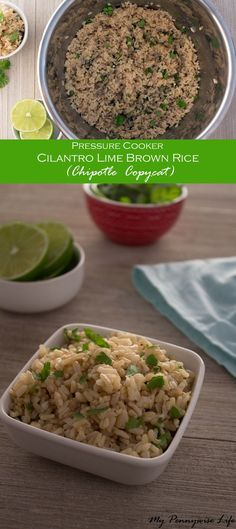 Pressure Cooker Cilantro Lime Brown Rice: Just 4 easy steps! Includes stove-top & rice cooker version! Gluten-free   Dairy-free   Low Oil   Copycat Recipe   Chipotle Copycat   Instant Pot via /mypennywiselife/ (Stove Top Vegetables)