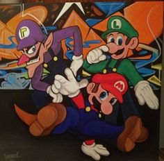 Mario Canvas Custom Canvas, Bowser, Mario, Fictional Characters, Custom Screens