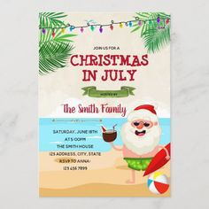 Christmas in July party invitation Beach Invitations, Holiday Party Invitations, Invitation Card Design, Custom Invitations, Shower Invitations, Invitation Cards, Birthday Invitations, Southern Christmas