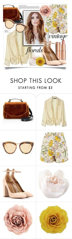 """""""Vintage Floral Vibes"""" by stylemaven2 ❤ liked on Polyvore featuring Maje, Lindsey Thornburg, Le Specs, Glamorous, Aquazzura, NOVICA, vintage, floral, Flowers and shorts"""