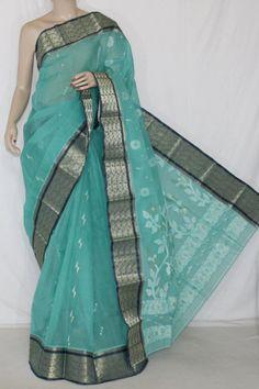 Sea Green Handwoven Bengali Tant Cotton Saree (Without Blouse) Zari Border 14012