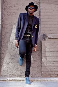 Light Blue Desert Suede Boots styled with Navy Blazer, Black Shirt and a pair of Black Jeans
