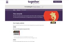 Together showing their #MoneyfactsAwards finalist logo on https://togethermoney.com/about-us/awards
