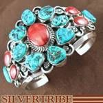 Native American Jewelry Sleeping Beauty Turquoise and Red Oyster Shell Cuff Bracelet