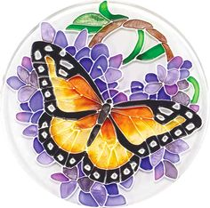 Wings & Wisteria Coasters from Butterfly Buzz Stained Glass Paint, Stained Glass Designs, Fused Glass Art, Stained Glass Patterns, Glass Butterfly, Butterfly Painting, Glass Painting Designs, Paint Designs, Mosaic Art