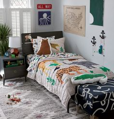 Take your little boy's bedroom to the wild side with a jungle or safari themed bedroom. Find ideas and inspiration for bedding, decor, accessories and more.