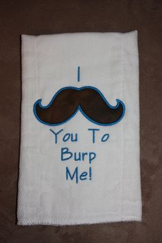 Mustache Burp Cloth  Infant Stocking Stuffer  by creationsbybam
