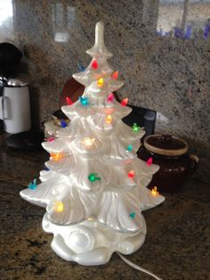 Fabulous Ceramic White Christmas Tree with multi-color lights 1950s Chalkware retro lighting Christmas decoration Vintage Holiday Decor