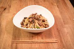 Noodles with Mushroom & Lemon Ginger Dressing