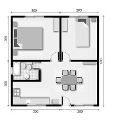 2 room apartment plan (all in one) Little House Plans, Small House Floor Plans, My House Plans, Modern House Plans, Plan Chalet, Two Bedroom House, Apartment Floor Plans, Apartment Layout, Room Planning