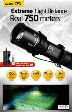 750m Lighting Distance Ultra bright CREE XM-L2 serie high power LED with special design TIR lens up to 750 meters lighting performance and 100 hours runtime (at low mode). http://www.metem.eu/products/heider-cfx-super-power-750m
