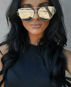 c681af798c Fashion Women Cat Eye Mirror Sunglasses Rose Gold Super Star Bamboo Wood  Sun glasses Polarized lens