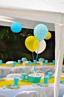 Leah's Rubber Ducky Shower - Love the yellow and blue color scheme!
