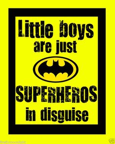 """Little Boys Superhero"" Quote Boy Room Wall Art Decore | eBay"