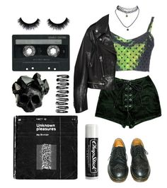 """grunge"" by ily030 ❤ liked on Polyvore featuring Au Jour Le Jour, Dr. Martens, Yves Saint Laurent, Wet Seal, CASSETTE, Macabre Gadgets, Chapstick, outfit, black and GREEN"