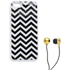 Cul-De-Sac Chevron Case With Ear-Buds ($36) ❤ liked on Polyvore featuring accessories, tech accessories, electronics, phone, black chevron and earphones earbuds