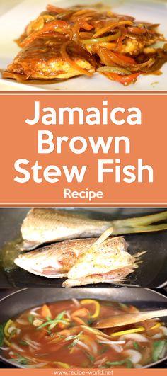 Jamaica Brown Stew Fish Recipe – Let's Eat - Fish Recipes Jamaican Brown Stew Fish Recipe, Fish Recipes Jamaican, Jamaican Cuisine, Jamaican Dishes, Indian Fish Recipes, Jamaica Food, Fish Varieties, Fish Stew, Caribbean Recipes