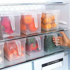 Kitchen Food Crisper Food Container Box Refrigerator Storage Box with Handle Perfect for refrigerator food storage. For insect resistant and anti odor. Can also pile them for space-saving.