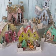 ♫ May your days be merry and bright...♫ Beautiful Glitter & Glitz Pastel Putz Christmas House DIY Decor Inspirations * Fabulous use of vintage bottle brush trees, glitter and embellishments! Neutrals and Pastels are Perfect for Valentine's Day or Easter Decor too!