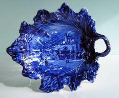 Rare Historical Staffordshire Leaf Dish ~ FRENCH VIEWS ~ Dark Blue Transferware
