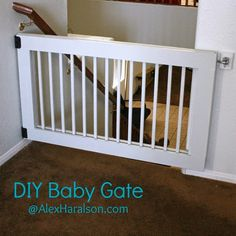 Side of crib rail repurposed as baby dog pet gate. Cut to size, attach hinges. Diy Dog Gate, Diy Baby Gate, Baby Gates, Pet Gate, Dog Gates, Baby Crib Diy, Baby Cribs, Stair Gate, Diy For Kids