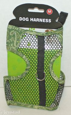 """DOG GENERIC VEST GREEN PAISLEY & MESH HARNESS FOR SMALL MEDIUM DOGS 10""""-16"""" NEW #Unbranded"""