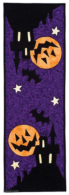 Happy Halloween Quilts Living Room Decoration decorative wall mirrors for living room Halloween Quilts, Halloween Fabric Crafts, Fall Crafts, Halloween Placemats, Halloween Applique, Table Runner And Placemats, Table Runner Pattern, Quilted Table Runners, Hand Quilting Patterns