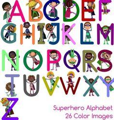 Superhero Alphabet, 26 Color Upper Case Clipart Images