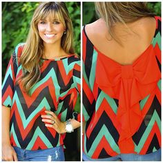 Chevron Top: Red/Green
