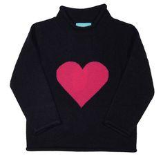Girls Navy Cashmere Heart Sweater