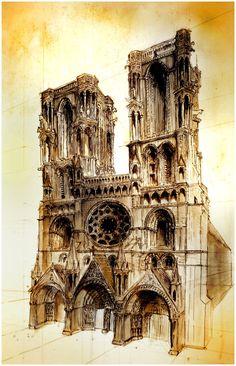 Laon by kukimanster on deviantART Gothic Architecture, Beautiful Architecture, Architecture Details, Amiens, Ville France, Ardennes, Reims, A Level Art, Urban Sketchers