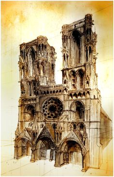 France - the medieval Laon Cathedral, sketch