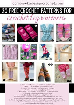 Crochet leg warmers are easy to make and fun to wear. Choose from 20 free crochet patterns for leg warmers in this crochet roundup post. Crochet Leg Warmers, Crochet Boot Cuffs, Baby Leg Warmers, Crochet Baby Boots, Crochet Slippers, Crochet Clothes, Crochet Beanie, Knitting Patterns Free, Crochet Patterns