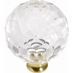"""Hickory Hardware Crystal Palace Round Knob - 1.31""""D x 1.31""""W -  1.7"""" from brass base to top of knob ; need 2 for my closet doors.  $11.39 each"""