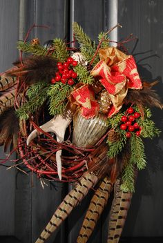 Christmas wildlife antler wreath by DesignsbyTinaCollins on Etsy