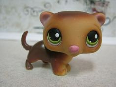 Littlest Pet Shop Dark Brown Green Eyes Ferret Weasel #209 #Hasbro