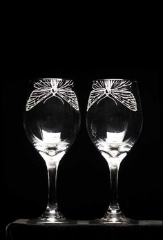 Etched Wine Glasses / Set of two  Moth by hopewellmountain on Etsy, $32.00