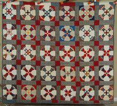 "DAZZLING Vintage 1890's ""Wheel of Time"" VIBRANT Antique Fabrics ~RARE DESIGN…"