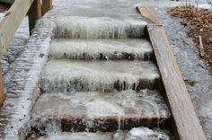 For Icy steps Mix 1 teaspoon dawn dishsoap 1 tablespoon rubbing alcohol and 1/2 gallon warm/hot water pour on iced steps and. walk waysThey won't re freeze. No more salt eating away at concrete.