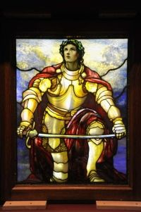 The Museum of Biblical Art (61st St. and Broadway) is exhibiting religious-themed works by Louis Comfort Tiffany. Here, 'Soldier of the Lord,' 1900.