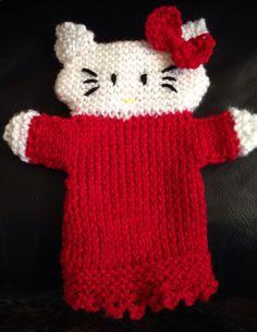 Hello Kitty puppet Puppets, Fingerless Gloves, Arm Warmers, Hello Kitty, Knitting, Fingerless Mitts, Cuffs, Tricot, Fingerless Mittens