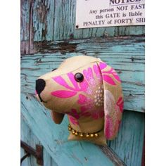 Faux taxidermy  fabric animal head,shabby chic, country house, Dog  trophy head. Green and pink  fabric.