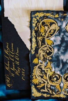 Beautiful, dark and moody themed, black and gold hand painted, luxury wedding stationery for a High - end, Vogue wedding at Chateau, Vaux le Vicomte, Paris, France. This blogpost shares a refined Parisian editorial with a wealth of refined, French inspired elegance for a destination wedding in Paris. Paris Wedding, French Wedding, Luxury Wedding, Elegant Wedding, Destination Wedding, Gold Wedding Invitations, Wedding Stationery, Vaux Le Vicomte, Vogue Wedding
