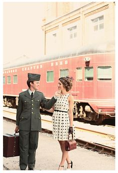 vintage train station engagement session, 1940's themed, military, @Kristin Vining Photography Charlotte, NC Wedding Photographer
