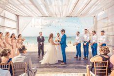 LUXE Destination Weddings Peach and Blue Real Wedding at Royalton Punta Cana Beach Ceremony