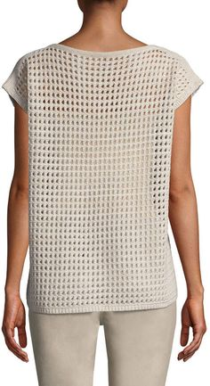 Lafayette 148 New York Open-Stitch Sequin Sleeveless Sweater Long Sweaters, Cashmere Sweaters, Crochet Ideas, Crochet Patterns, Crochet One Piece, Crochet Jacket, Crochet Tops, Lafayette 148, Crochet Fashion