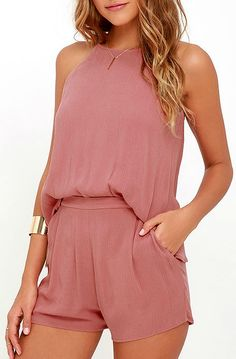 Travel to the Grand Canyon and beyond with the Canyon Companion Rusty Rose Romper to keep you company! A billowing sleeveless bodice, composed of woven poly, meets an elasticized waist and fluttering shorts with side pockets. #lovelulus